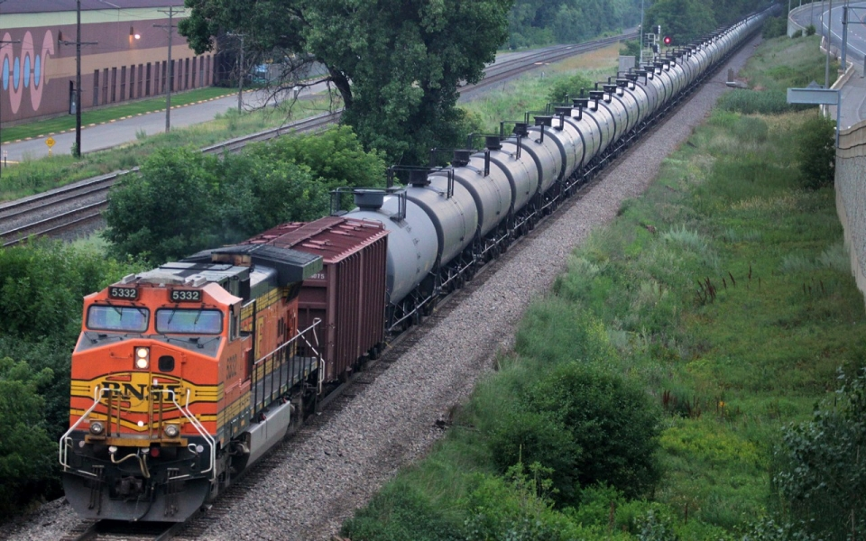 An oil train south of St. Paul, Minnesota, in July 2014. Connor Lake/AP/The Star Tribune