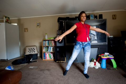 Raquel Fontenot dances after school in her family's home