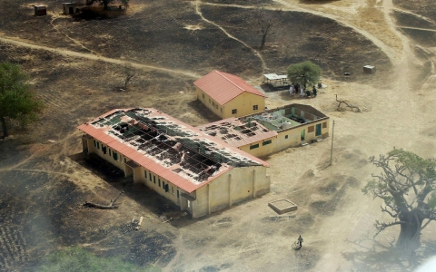 This picture taken on March 5 shows an arial view of the burnt-out classrooms of a school in Chibok.
