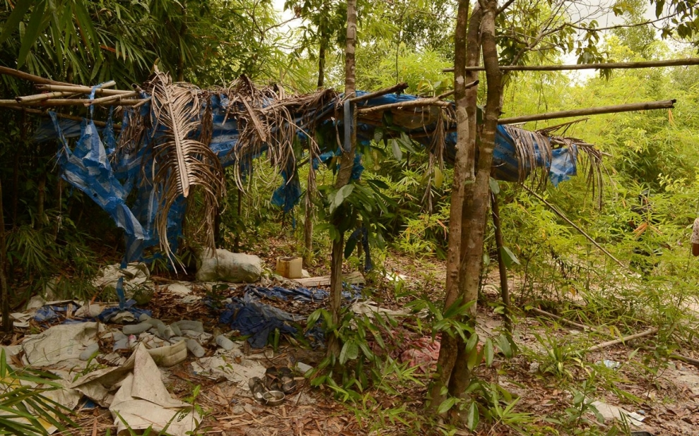 hut, trafficking camp, Phang Nga province, Thailand.