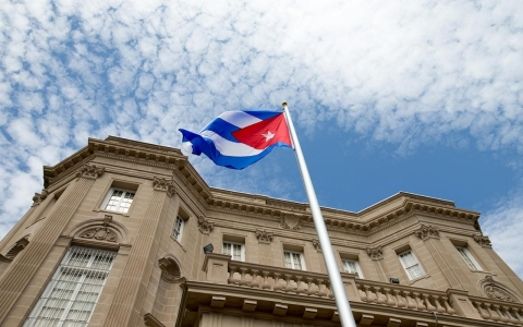 Thumbnail image for Cuban flag raised in Washington, DC, marking historic restoration of ties