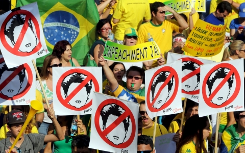 Thumbnail image for Tens of thousands protest in Brazil to say, 'Dilma must go'