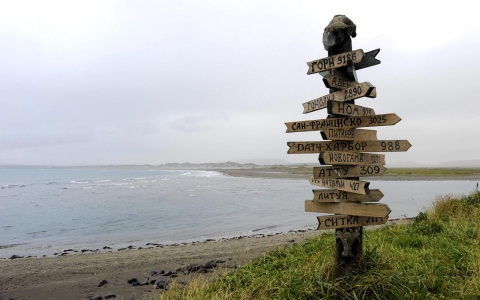 Signpost on Komandorski Island showing distances and directions to (among others): San Francisco, Nome, Sitka, Honolulu, Dutch Harbor and Pitcairn Island.