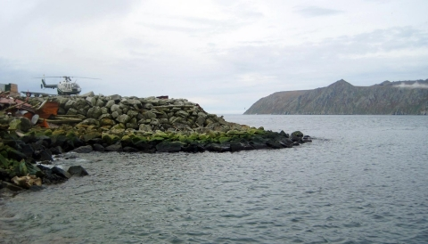 Big Diomede Island in Russia, right background, as seen from Little Diomede Island in the U.S. state of Alaska, left foreground.