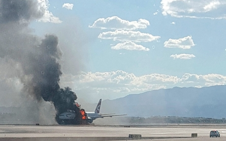 London-bound plane catches fire on Las Vegas runway