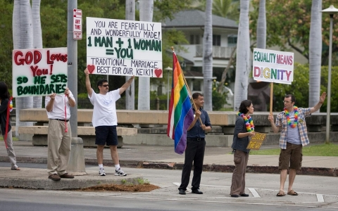 Hawaii same sex marriage protesters