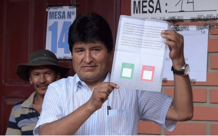 Bolivia's Morales losing referendum on fourth term