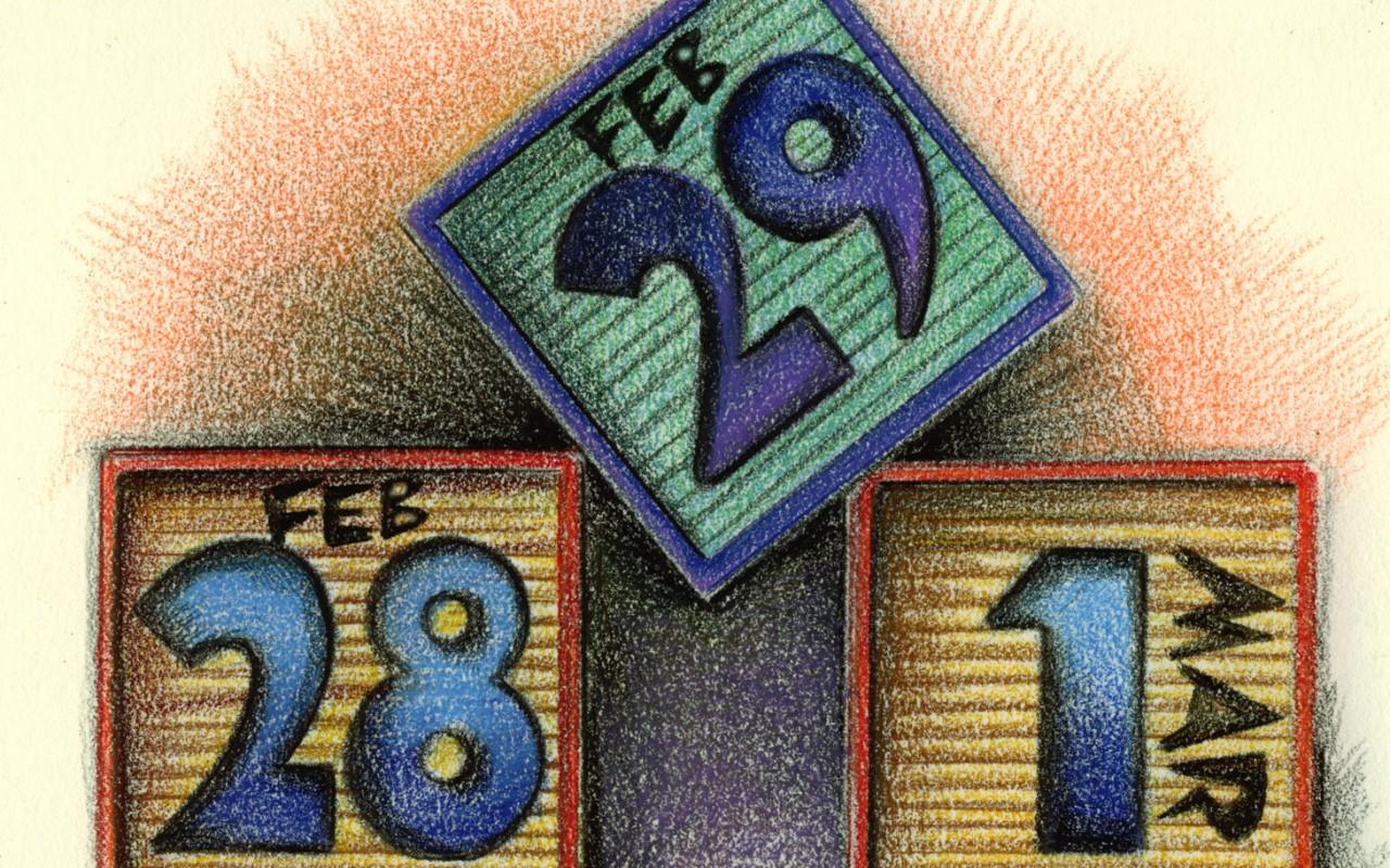in leap year  clock ticks on calendar reform