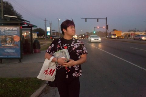 Nicky Cao, 18, has an hour commute to school.