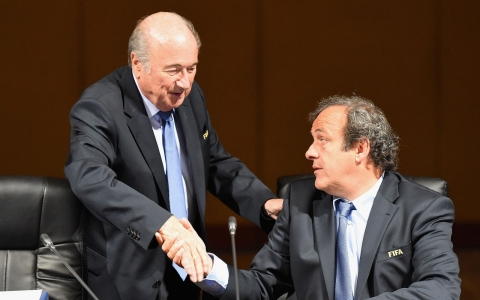 FIFA President Joseph S. Blatter greets Michel Platini, UEFA President and member of the FIFA Executive Committee during the FIFA EXCO meeting at the Grand Hyatt hotel on June 7, 2014 in Sao Paulo, Brazil.