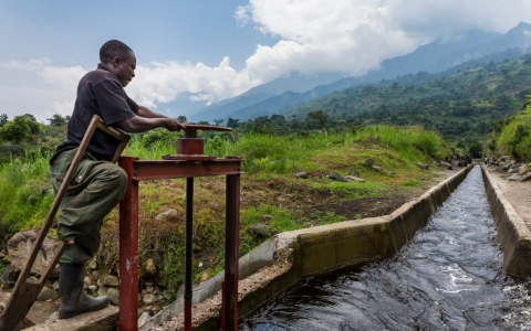 The hydro-electric plant employs water drawn from natural flow in Virunga National Park, providing much needed electricity for industry in Mutsora.
