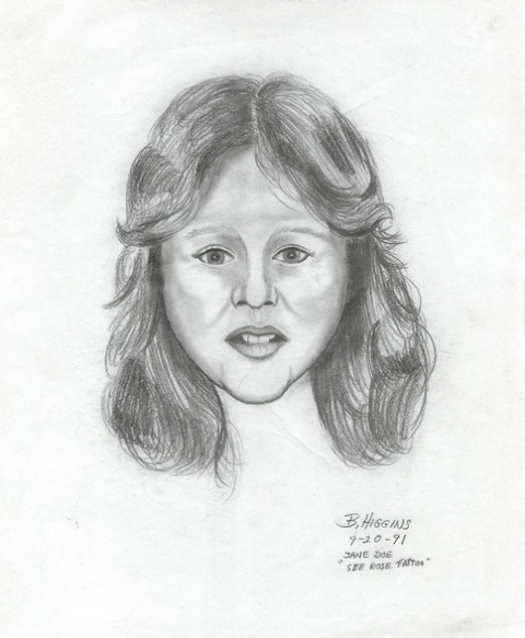 "A reconstruction sketch drawn of an ""unidentified white female"" after her body was discovered Sept. 3, 1991, in Boron, Calif."