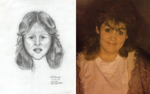 "The sketch of the ""unidentified female victim"" next to a photo of Diana Smith before she disappeared."