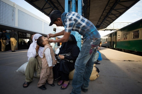 A child is vaccinated in Karachi. Pakistan is one of three countries where polio is endemic.