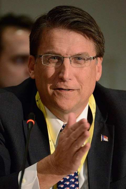 North Carolina Gov. Pat McCrory questions a panelist during the National Governors Association Winter Meeting, in Washington, on Feb. 22.