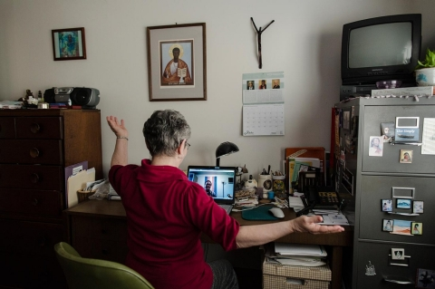 Sr. Monica (name changed to protect subjectís identity) speaks to one of her trans clients named Matteo over Skype.