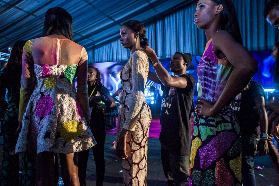 Lagos Fashion Week Models Wearing Outfits Created By Designer