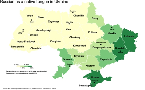 Russian as a native tongue in Ukraine