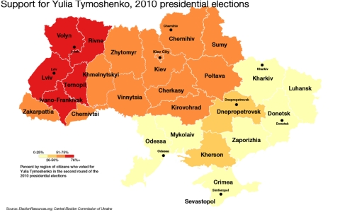 Support for Yulia Tymoshenko, 2010 presidential elections