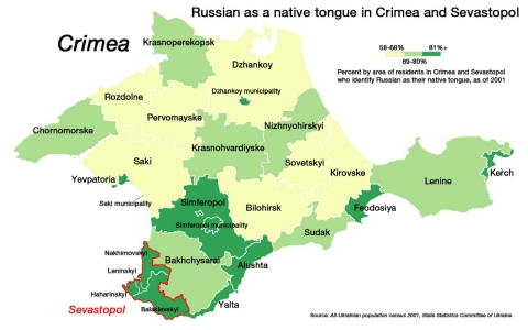 Russian as a native tongue in Crimea and Sevastopol