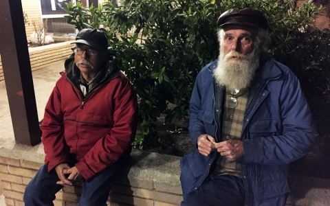 Clyde Heimer (left) and his friend Bill (who did not give his last name), volunteered in the Los Angeles homeless count Wednesday night.