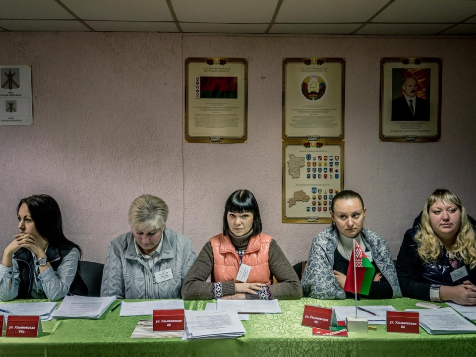 Election officials inside a polling station on Sunday, Oct. 11, 2015 in Babruysk, Belarus.