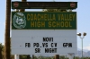 A welcome sign at the entrance of Coachella Valley High School in Thermal, CA.