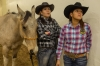 Justine Doka, right, from the Fort McDowell Yavapai Nation, and Michelle Walking Bear compete in ladies' breakaway roping.