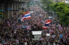 Anti-government protesters march toward Thailand's Finance Ministry in Bangkok on Monday, part of an effort to topple the government of Prime Minister Yingluck Shinawatra.