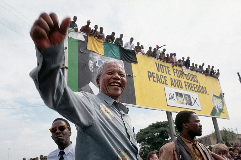 Image result for nelson mandela claims victory in south africa vote