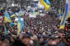 A rally held by supporters of EU integration in Kiev, Sunday drew hundreds of thousands of protesters.