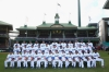 The Los Angeles Dodgers sit for a traditional team photo at the Sydney Cricket Ground.