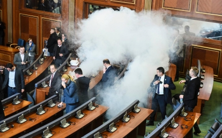 Photos: Kosovo opposition releases tear gas in parliament