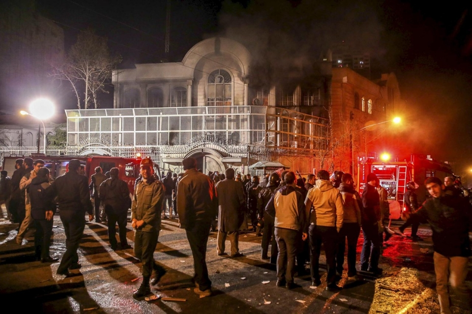 Image result for saudi embassy in iran fire