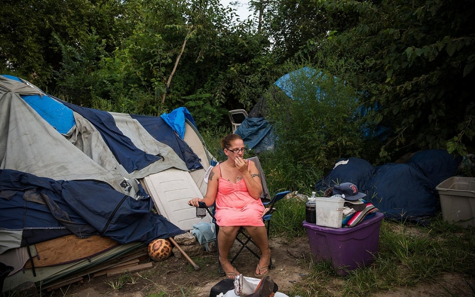 ... who identified herself as Jessica sits next to the tent she lives in on August 21 2013 in Camden New Jersey. Camden has at least three  tent cities  ... & What war on poverty? | Al Jazeera America