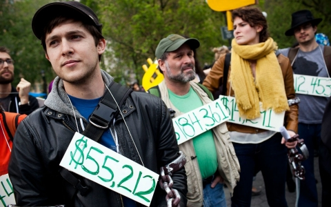 Student debt protesters