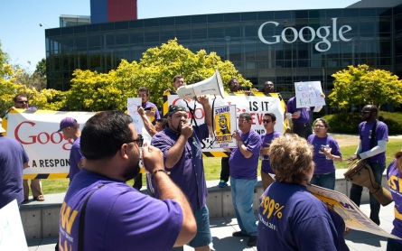 Tech's low-wage workers disrupt the disruptors