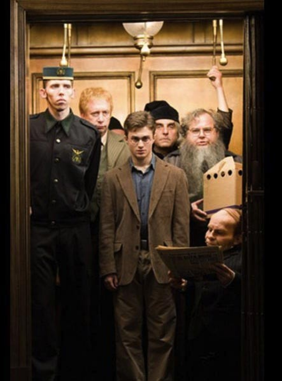 people in elevator. harry potter people in elevator e