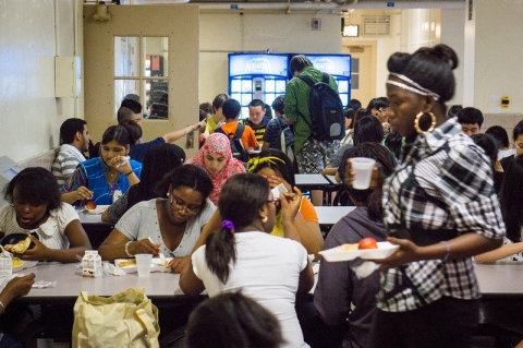 Lunch time at the International High School at Lafayette,  New York City public school dedicated to serving newly arrived immigrant teenagers, with more than 300 students speaking two-dozen languages from 50 countries.