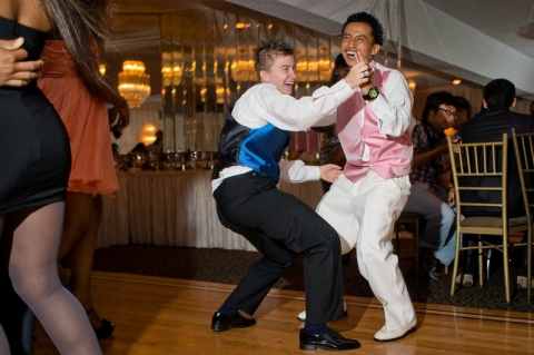 Sandra (Poland) dancing with Brandon (Guatemala) at the International High School at Lafayette Prom.
