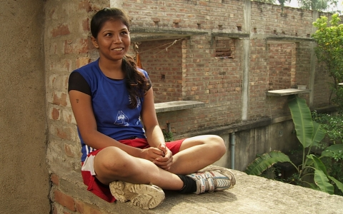 Chaitali Kapat takes a break from training.
