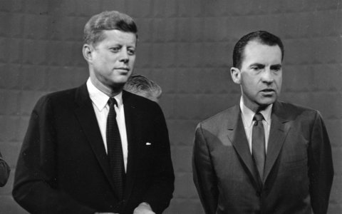 John F. Kennedy, left, and Richard Nixon after the first of their four presidential debates. While both candidates sympathized with the struggles of African-Americans, Kennedy's efforts resonated more with voters.