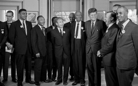 President John F. Kennedy stands with a group of leaders of the March on Washington on Aug. 28, 2013 at the White House.