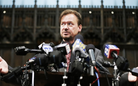 The Rev. Frank Schaefer speaks during a news conference.