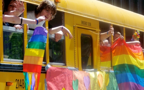 A Gay-Straight Alliance school bus at the 2008 Seattle Pride Parade.