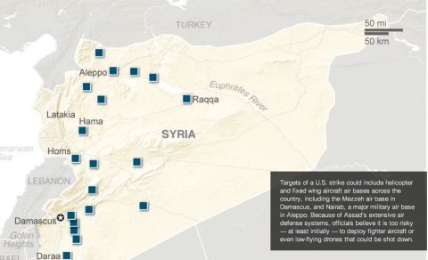 The AP maps possible U.S. targets in Syria