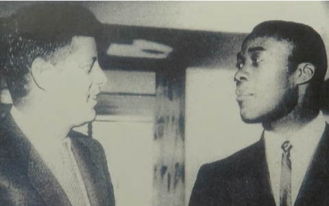"Much to the surprise of Jim ""Mudcat"" Grant, right, President John F. Kennedy requested to have breakfast with him one morning, calling Grant one of his favorite players."