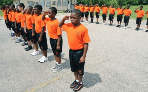 A weeklong military-style program at Sorter Elementary School