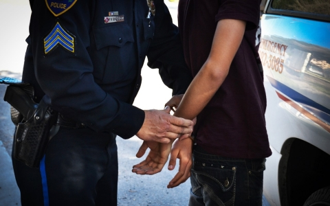 Student is handcuffed for excessive truancy