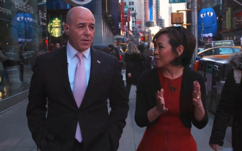 After his release from prison, former New York City police commissioner Bernard Kerik walks with Joie Chen along his old police beat in the Times Square area.